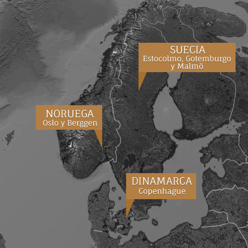 Plano de Escandinavia - Radio de acción