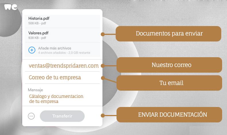 Imagen WeTransfer para subir catalogo a trendspridaren
